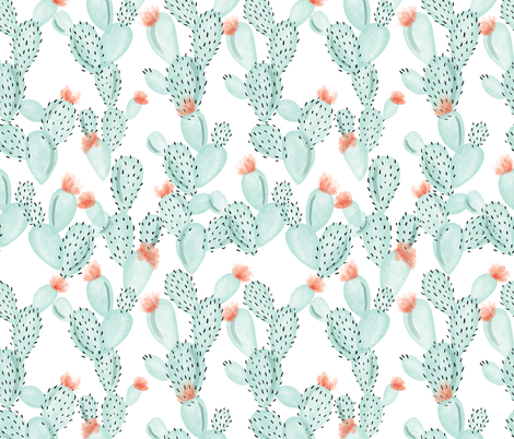 aqua paddle cactus + rose fabric by ivieclothco on Spoonflower - custom fabric