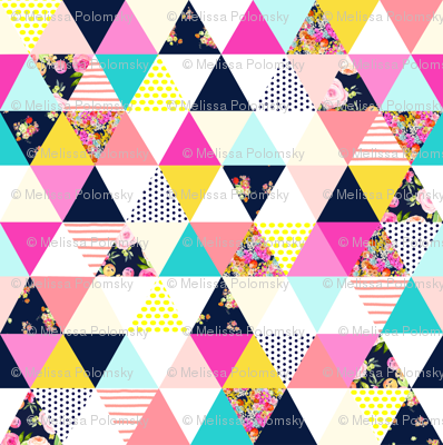Colorful Summer Floral Triangle Wholecloth // Cheater Quilt