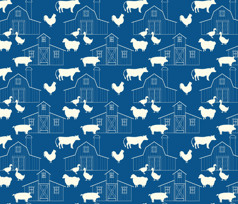 Barns_Royal_Blue fabric by lana_gordon_rast_ on Spoonflower - custom fabric