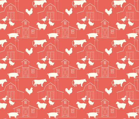 Barns_Terra_Cotta fabric by lana_gordon_rast_ on Spoonflower - custom fabric