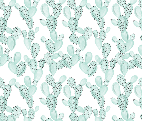 aqua paddle cactus fabric by ivieclothco on Spoonflower - custom fabric