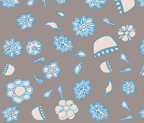 Paper flower blue fabric by bruxamagica on Spoonflower - custom fabric