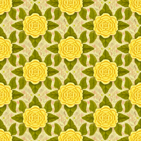 Old Fashioned Yellow Rose fabric by eclectic_house on Spoonflower - custom fabric