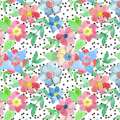 Watercolor Hexafloral Confetti Dots