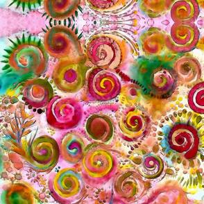 Watercolor Spiral  Fiesta