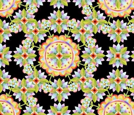 Starflower Blossoms black fabric by patriciasheadesigns on Spoonflower - custom fabric