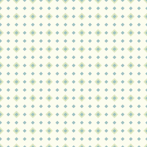 Seamless Spring Green and Blue Green Polka Maxi Diamonds on Cream Background