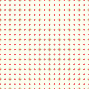 Seamless Spring Green and Coral Red Maxi Polka Diamonds on Cream Background