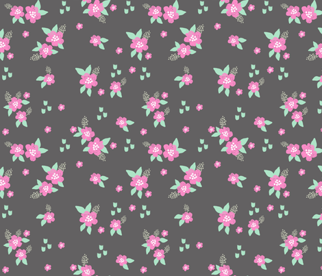 sweet florals // simple spring flowers monarch florals collection by andrea lauren - charcoal and pink fabric by andrea_lauren on Spoonflower - custom fabric