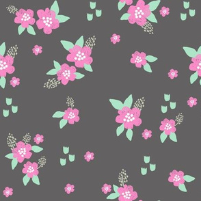 sweet florals // simple spring flowers monarch florals collection by andrea lauren - charcoal and pink