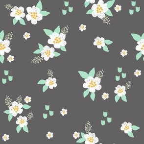 sweet florals // simple spring flowers monarch florals collection by andrea lauren - charcoal and white