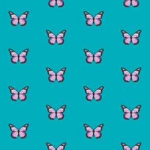 monarch butterfly fabric // simple sweet butterflies design nursery baby girls fabric - lavender and turquoise