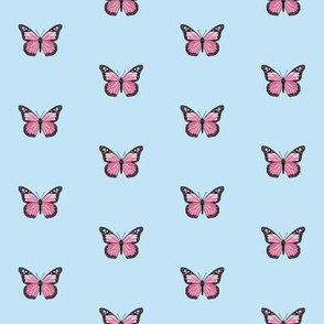 monarch butterfly fabric // simple sweet butterflies design nursery baby girls fabric - light blue