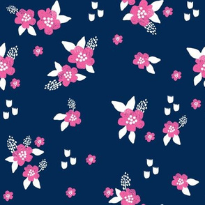 sweet florals // simple spring flowers monarch florals collection by andrea lauren - navy and pink