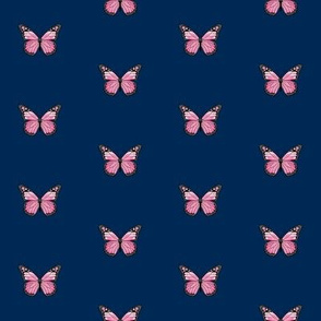 monarch butterfly fabric // simple sweet butterflies design nursery baby girls fabric - navy and pink