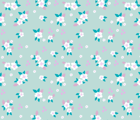 sweet florals // simple spring flowers monarch florals collection by andrea lauren - turquoise fabric by andrea_lauren on Spoonflower - custom fabric