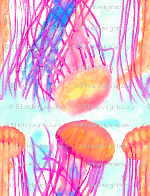 Watercolor Neon Jellyfish