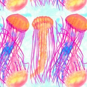 Watercolor Neon Jellyfish