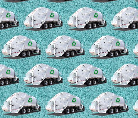 Aqua Garbage Truck fabric by gethugged on Spoonflower - custom fabric