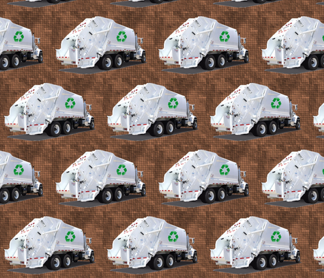 Brown Garbage Trucks fabric by gethugged on Spoonflower - custom fabric