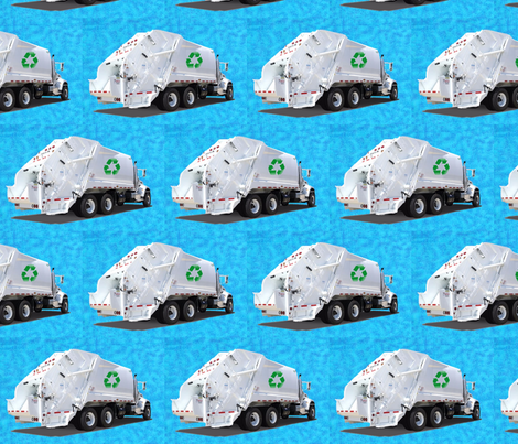 Turquoise Garbage Trucks fabric by gethugged on Spoonflower - custom fabric