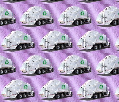 Garbage Recycle Trucks Purple fabric by gethugged on Spoonflower - custom fabric