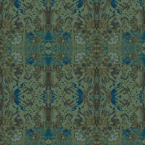 Muted Blue Fall Flower Paisley