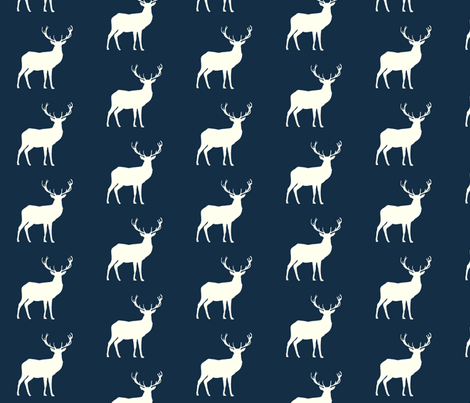 deer Hike// Ivory on Mandy Navy fabric by buckwoodsdesignco on Spoonflower - custom fabric