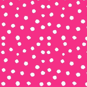 Painted Polka Dot // Medium Hot Pink