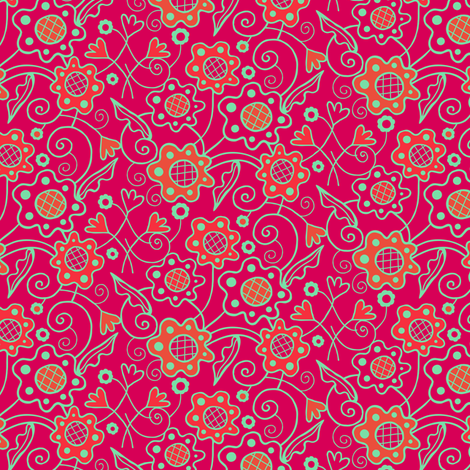 Flower_Patch_Berry_Red_Aqua fabric by johannaparkerdesign on Spoonflower - custom fabric