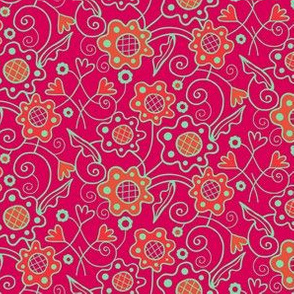 Flower_Patch_Berry_Red_Aqua