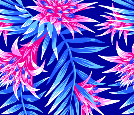 Fasciata Tropical - Mid Blue Pink - LARGE SCALE fabric by andreaalice on Spoonflower - custom fabric
