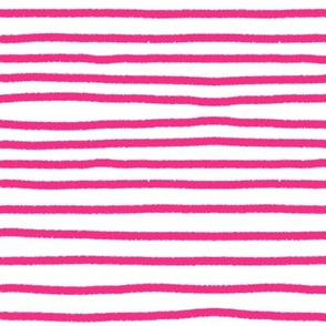 Sketchy Stripes // Medium Hot Pink