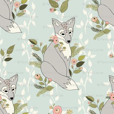 Flower Fox, Vine Bkgd - Pale Aqua
