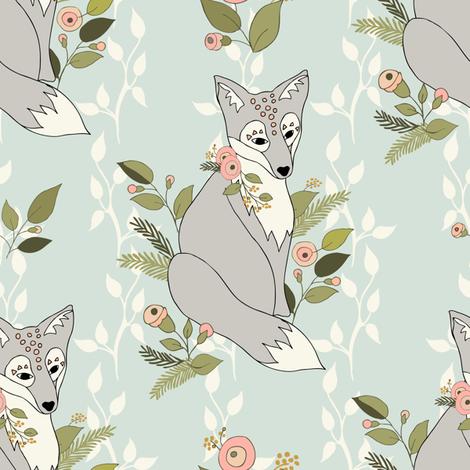 Flower Fox, Vine Bkgd - Pale Aqua fabric by fernlesliestudio on Spoonflower - custom fabric
