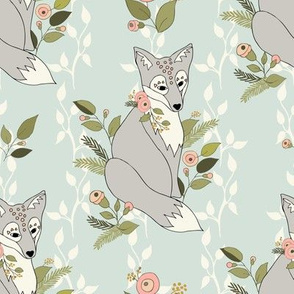 Flower Fox, Vine Bkgd - Pale Aqua