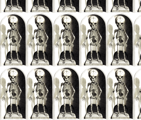 skulls bones skeletons anatomy gothic death vintage monochrome black white antique children child fabric by raveneve on Spoonflower - custom fabric