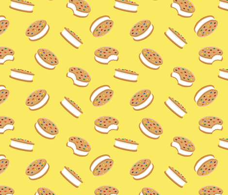 cookie sandwich ice-cream - candied on yellow fabric by littlearrowdesign on Spoonflower - custom fabric