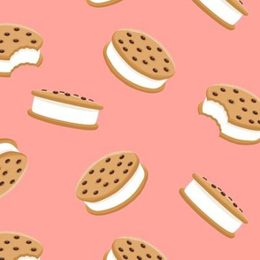 cookie sandwich ice-cream - summer fabric salmon