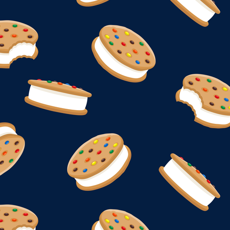 cookie sandwich ice-cream - candied on navy fabric by littlearrowdesign on Spoonflower - custom fabric