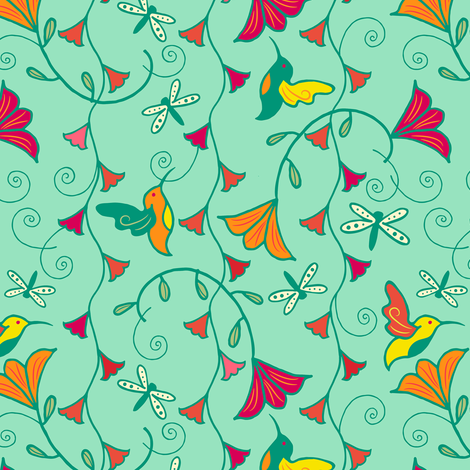 Hummingbird_Bells_aBuzz_Light_Blue fabric by johannaparkerdesign on Spoonflower - custom fabric
