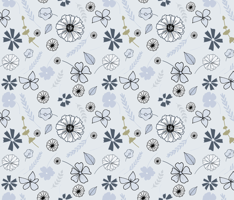 Blue_Gold_Tossed Floral fabric by annelafollette on Spoonflower - custom fabric