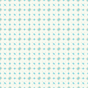 Seamless Aqua & Taupe Rippled Diamonds on Cream Background