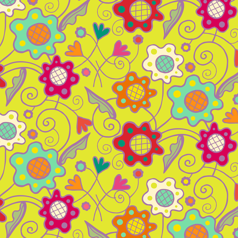 Flower_Patch_on_Chartreuse_Yellow fabric by johannaparkerdesign on Spoonflower - custom fabric