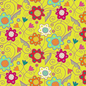 Flower_Patch_on_Chartreuse_Yellow