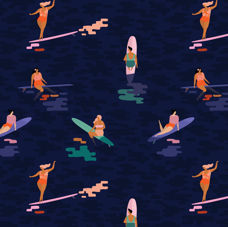 Surf goddess dark blue fabric by tasiania on Spoonflower - custom fabric