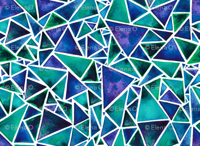 Purple and Green Geometric Triangles