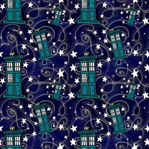 Project 330 | Police Boxes on Watercolor Starfield | Dark Purple Sky
