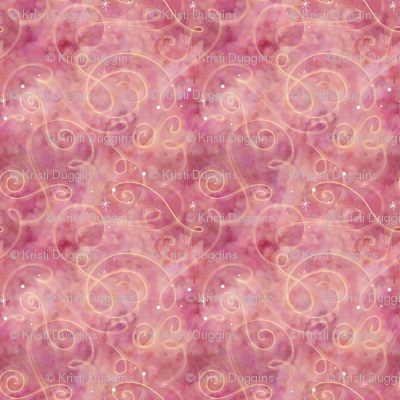 Project 330 | Watercolor Starfield | Strawberry Pink with Gold Swirls