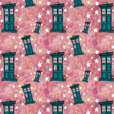 Project 330 | Police Boxes on Watercolor | Strawberry Pink with Gold Swirls fabric by bohobear on Spoonflower - custom fabric